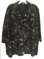 WOMEN'S PLUS SIZE 1X BLACK FLORAL PRINT SHIRT - CLOTHING PRE-OWNED