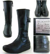 """FitFlop 'Hooper' Tall Side Zip Leather Boots Black Leather 11.5"""" Shaft US 7"""