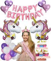 Premium Unicorn Party Supplies with Birthday Girl Favors (Headband & Sash)