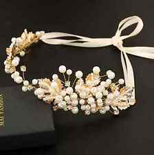 BRIDAL GOLD HAIR BAND, HEADBAND, TIARA, CLEAR RHINESTONE, VINTAGE, PEARL CROWN