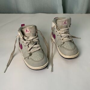 Nike Air Jordan Sneakers Purple And Light Gray Lace up Shoes Size 6C