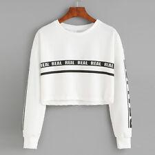Women Hoodie Sweatshirt Jumper Sweater Crop Top  Coat Sports Pullover Tops