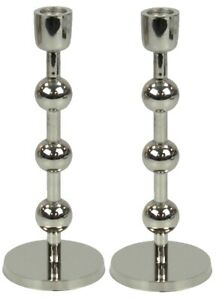 Set of 2 Tall Silver Candlesticks Candle Holder With Bubbled Design 23.5cm