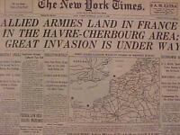 VINTAGE NEWSPAPER HEADLINE ~WORLD WAR NAZI FRANCE ARMY D-DAY INVASION WWII 1944