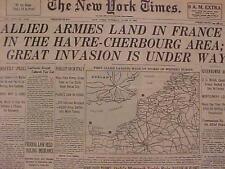 VINTAGE NEWSPAPER HEADLINE~WORLD WAR 2 NAZI FRANCE US D-DAY BATTLE INVASION WWII