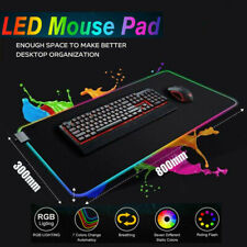 Colorful RGB Gaming Extended Mouse Pad Keyboard Mat For PC Laptop LED Lighting