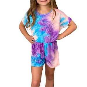 Girls Tie Dye Short Romper Jumpsuit Stretchy Casual Jumpsuit Outdoor Playsuit
