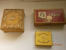 Lot of 3 Vintage Old Wooden Hand Painted Pyrography Cigarette Case Box,Cigarette