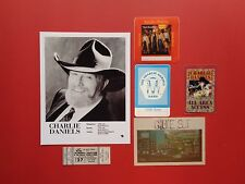 CHARLIE DANIELS,Promo photo,4 Backstage passes,concert ticket,RARE Originals,