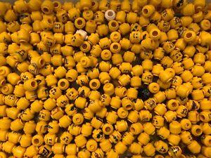 LEGO BULK LOT 200 NEW MINIFIGURE HEADS FIGURE TOWN CITY BODY PARTS YELLOW MORE