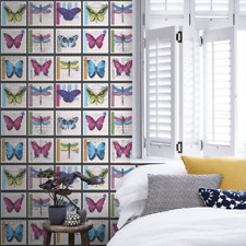 Butterfly, Stamps, Postcard, Collage, Farfalla Wallpaper by Holden Decor