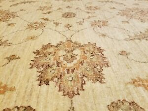 Exquisite Vintage 1980-1990s Muted Ivory Colors Wool Pile Oushak Rug 7x10ft