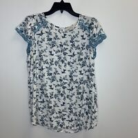 Women's Loft White Blue Floral And Bird Pattern Short Sleeve Top Size Large