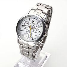 Luxus Herren Edelstahl Sportuhr Uhren Analog Quartz Business Armbanduhren Weiß
