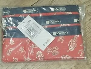 Lesportsac 3-Zip Cosmetic Pouch Bag Make-Up Case FIESTA RED new vintage
