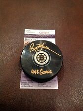 Hockey Rick Middleton Autographed Bruins Puck JSA M89497