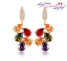 18k GP Elegant design Multi-Color Cubic Zirconia Dangle Earring