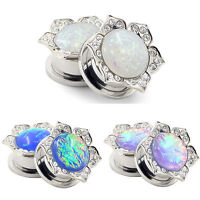 PAIR-Stainless Steel Silver Synthetic Opal Ear Gauges Screw Ear Tunnel Plugs