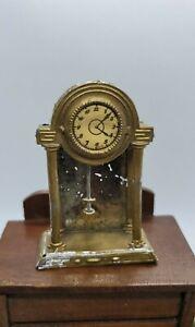 DOLLHOUSE MINIATURE ANTIQUE MIXED METAL PENDULUM CLOCK  ESTATE