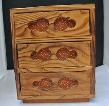 Vintage 3 Drawer Wooden Box Made in Japan