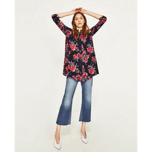 Zara Women Navy Floral Print  Mini  Swing Shirt Dress Tunic Size XS, S, M, L