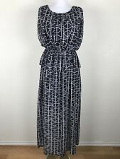 Dear Creatures Dress XS Black White Geometric Maxi Ruched Chiffon Peplum