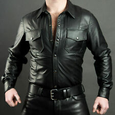 Men's Boys Schwarz Cuir Lederhemd Shirt Genuine Soft Lambskin Leather BLUF Gay
