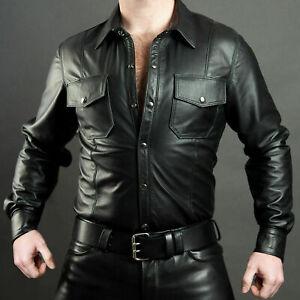 Men's Boys Schwarz Cuir Lederhemd Shirt Genuine Soft Lambskin Leather BLUF Gay