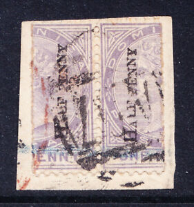 DOMINICA QV 1883 SG12 1/2d opt on 1/2 1d pair fine used blue reg crayon. Cat £90