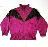 VINTAGE 80s 90s Lavon Windbreaker Coat Jacket Retro Purple Ruby Floral Large L