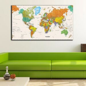 Framed Canvas Prints Stretched World Map Wall Art Home Office Decor Painting DIY