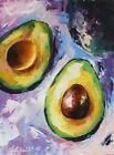 Avocado Small Painting Food Original Art Vegetables Still Life Artwork Kitchen