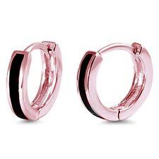 Rose Gold Plated Black Onyx Bar Huggie Hoop .925 Sterling Silver Earrings