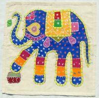 Éléphant Housse de coussin indienne Appliqué Brodée à la main Inde Multicolore