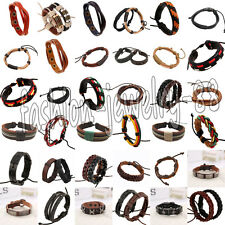 Fashion Mens Women Braided Leather Bracelet Wristband Bangle Surfer Cuff Jewelry