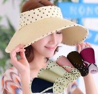 Summer Fashion Lady Girl Straw Visor Cap Sun Hat Foldaway Golf Beach Hats