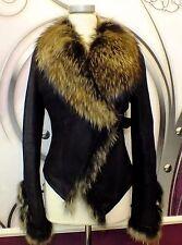 Luxus Designer Lammfelljacke mit echtem Fuchspelz Gr.40 NEU