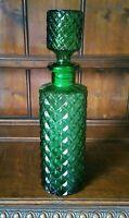Vintage Empoli Italian Green Glass Diamond Cut Decanter / Bottle  34cm