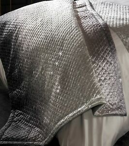 Sumptuous Kylie Minogue Gia Slate Oyster Quilted Velvet Bedding Spring/Summer 18