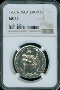 1986 NEW CALEDON 5 FRANCS NGC MS 69 UNC BU GEM COIN FINEST KNOWN