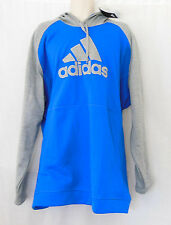 ADIDAS Blue/Gray Fleece Pullover L/S Hoodie Sweatshirt-Size 4XL-NEW-NWT-BJ8514