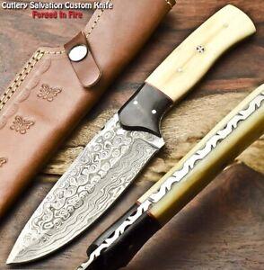Rare Hand Made Damascus Steel Blade Full Tang Hunting Knife   Camel Bone
