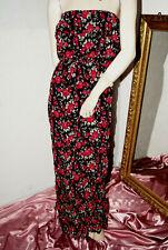 Langes KLEID schwarz mit roten Rosen Volant Crinkle Urlaub Strand Party nw XS