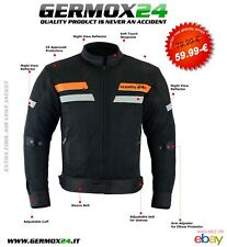 GERMOX-24 Giacca estiva da moto tessuto magli a rete nero-arancio M L XL 2XL 3XL