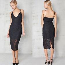 Womens Lavish Alice Black Midi Pencil Strappy Dress Cornelli Lace Ladies UK Size