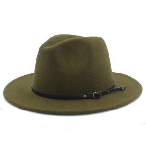 New Unisex Wool Panama Hat Wide Brim Jazz Church Fedora Cap Studded Leather Band