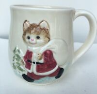 Otagiri Christmas Cup Mug Cat OMC Vintage 1994 Stoneware Porcelain 3 1/2 Ceramic