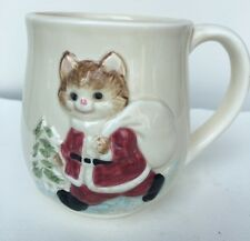 "Vintage Otagiri Christmas Cup Mug Cat OMC Stoneware Porcelain Ceramic 3 1/2"""
