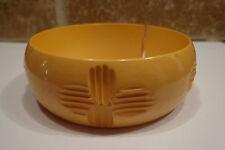 VINTAGE Celluloid ? YELLOW Bangle Hand Carved BRACELET