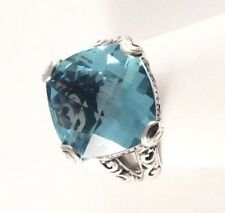Sterling Silver Square Cushion Cut Blue Topaz Filigree Size 7 & 1/4 Ring R060402